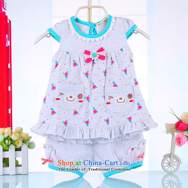 The 2015 summer children's wear new 2-year-old girl 3 baby short-sleeved compassionate package 5 girls Korean Summer Thin Layer Shirt + 74442?100 gray shorts