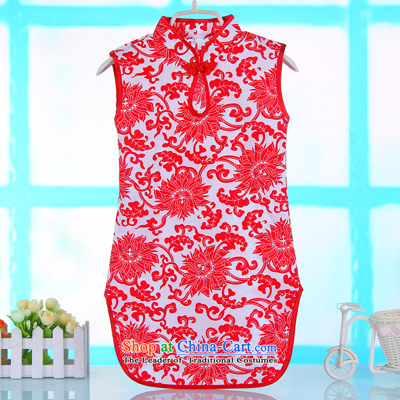 The girl child cotton linen ink butterfly cheongsam dress Clothes Summer 2015 Children baby national qipao 4682 porcelain Red?120