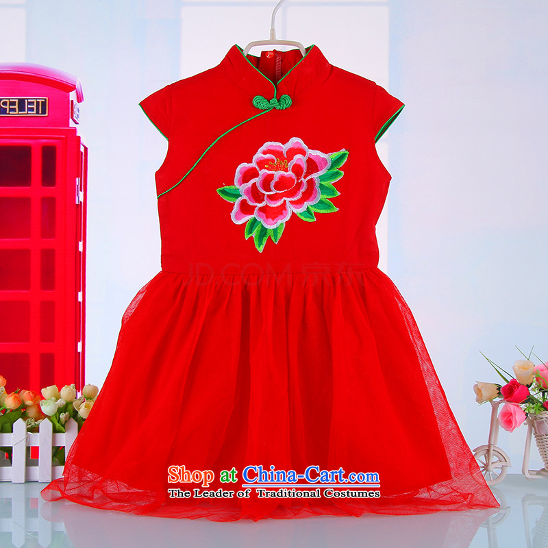 2015 Red China wind girls qipao BABY CHILDREN Tang dynasty princess cotton yarn skirt guzheng performances dress spring and summer?  4685th?Red?110