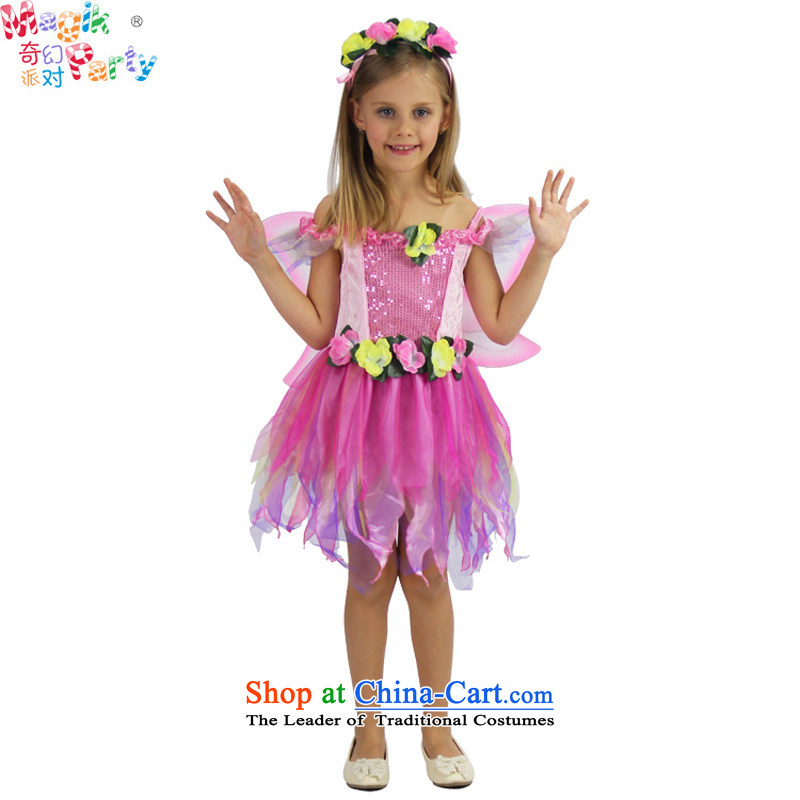 Fantasy party kindergarten costumes daughter birthday gift girls butterfly dresses Flower Fairies  Princess skirt pink 7-8 Code 120cm