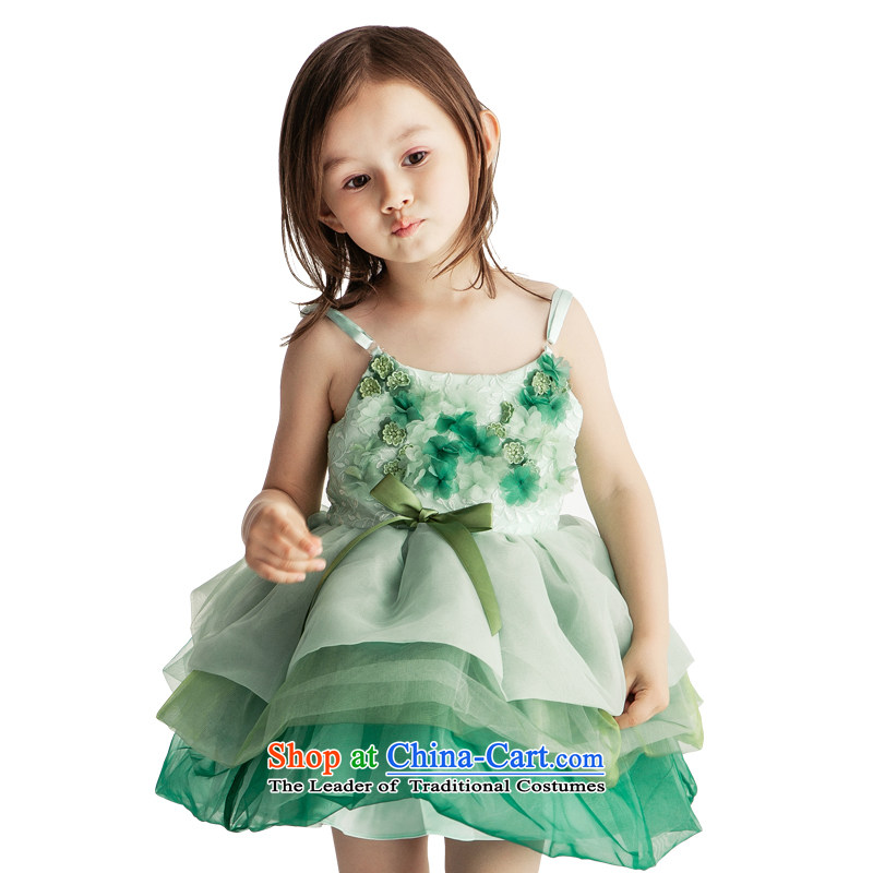 Po Jasmine children wedding dresses princess skirt fall new evening dresses bon bon skirt flower girl children's wear Advanced Customization Custom Size Green - 5 day shipping