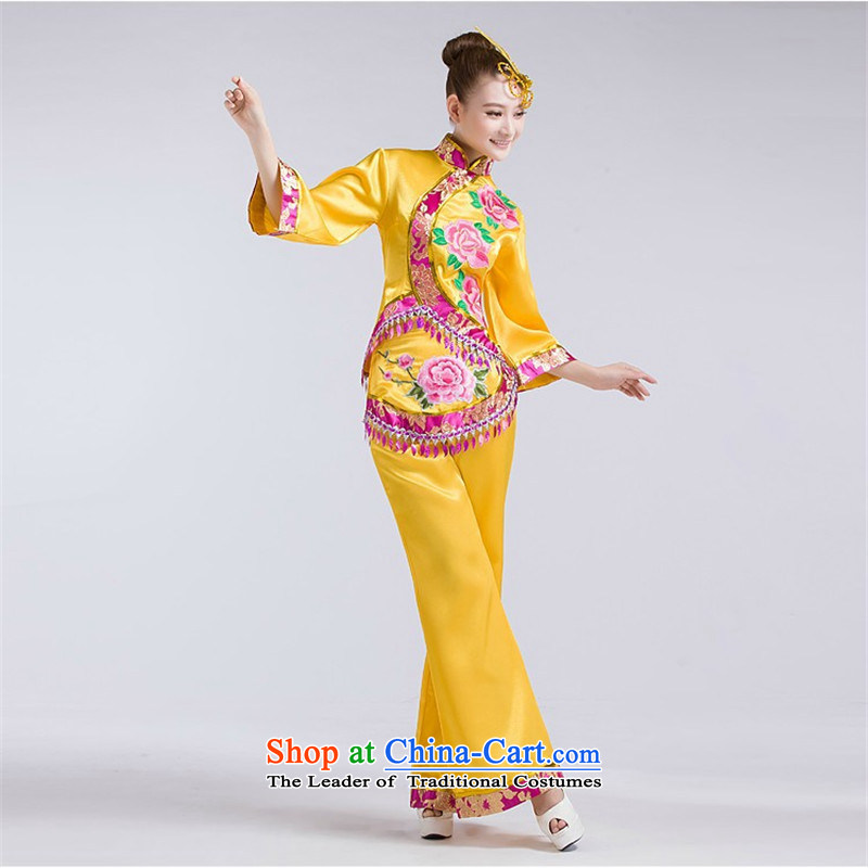 2015 new special dance performances to female theatrical performances services Spangle Embroidery national yangko janggu clothing XXXL yellow