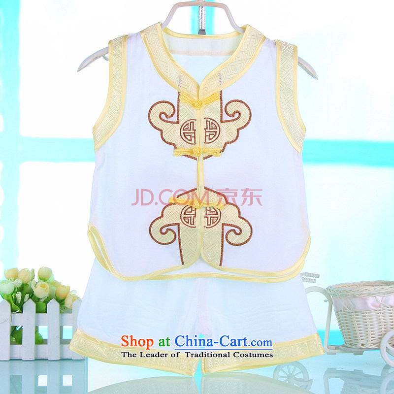Children's Wear new boys Tang Dynasty Package summer baby years 100 days dress summer short-sleeve kit White?110