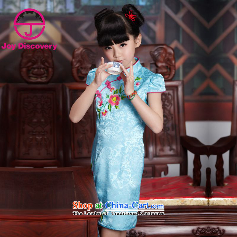 The Burkina found China wind children's wear dresses new summer 2015 girls embroidery cheongsam children Tang dynasty blue qipao?160