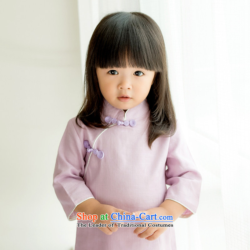 Child Lok Wei spring and autumn_ Children Tang dynasty qipao girls 7 cuff dresses solid color cotton linen Chinese Antique baby skirts purple 80