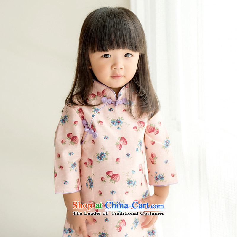 Child Lok Wei spring and autumn) Children Tang dynasty qipao girls 7 cuff dresses sweet small strawberries pure cotton dress suit110 Chinese baby