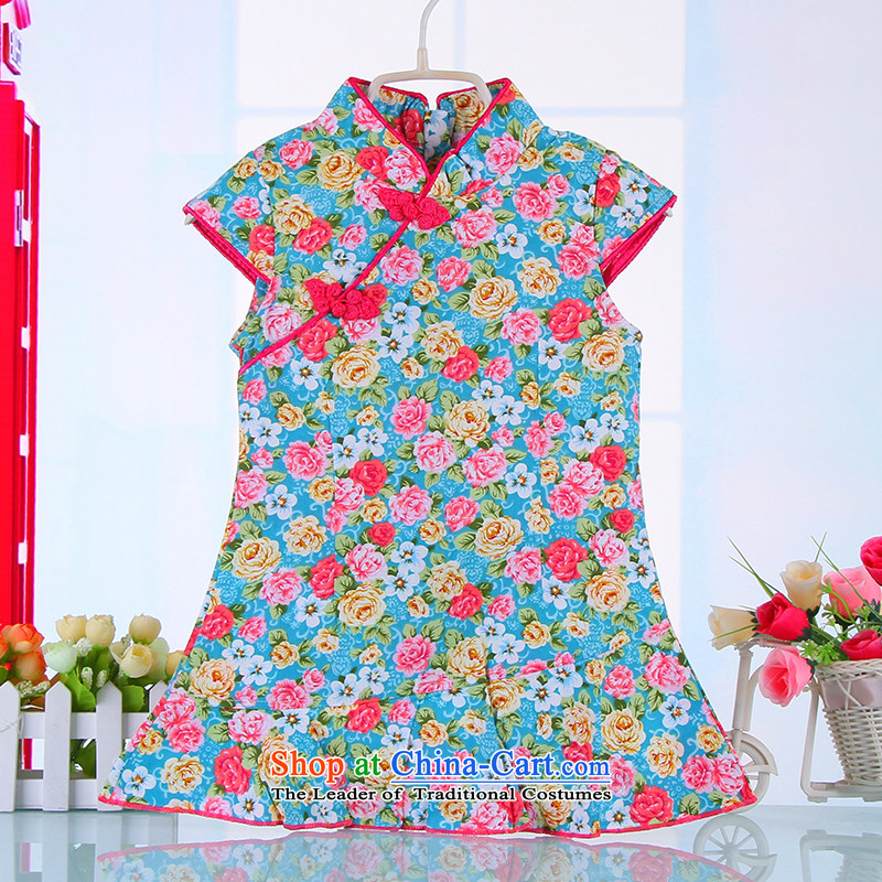 Small and new Dordoi spring and summer, children Tang dynasty qipao girls short-sleeved dresses pure cotton saika China wind retro baby blue skirt聽120