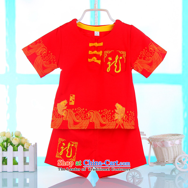 Small and more new 2015 boys under the age of a gift pack for summer baby Tang children of ethnic Chinese clothing birthday dress Red?90