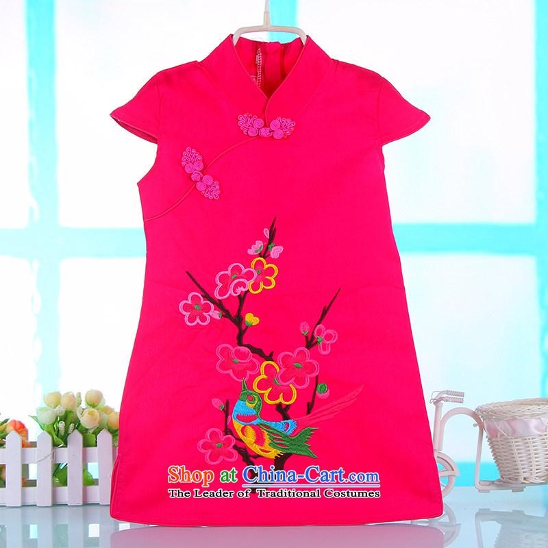 Small and more new child qipao 2015 girls in spring and summer cotton princess skirt the little girl Tang Dynasty Chinese dresses rose 80