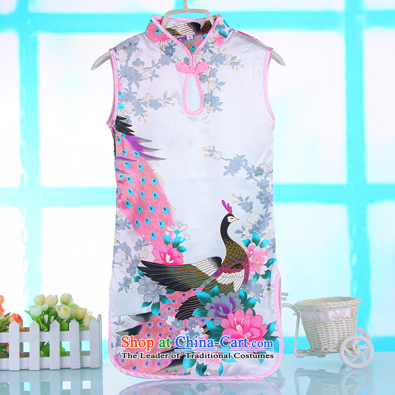 Small and new Dordoi 2015 Spring Summer girls short-sleeved dresses Chinese Antique Children Tang dynasty baby qipao White 140