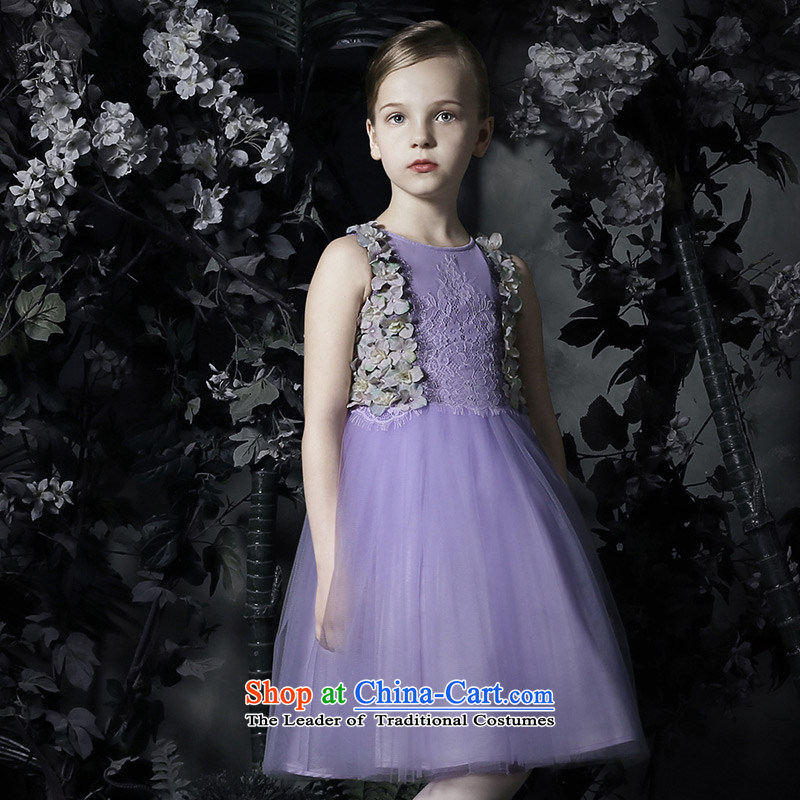 Love of Ko Yo new children by 2015 summer gown girls princess skirt girls bon bon skirt Flower Girls will purple 120
