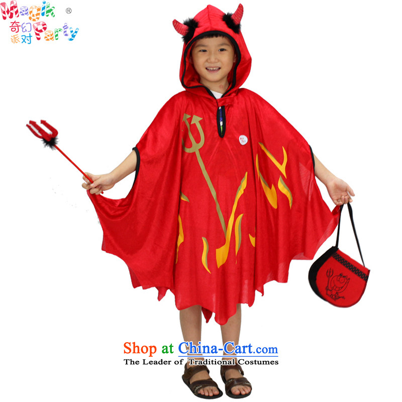 Fantasy Halloween costume party pumpkin black cat robe party gathering game costumes to boys and girls of candy robe kit for the Red Devils around 100-140cm Height