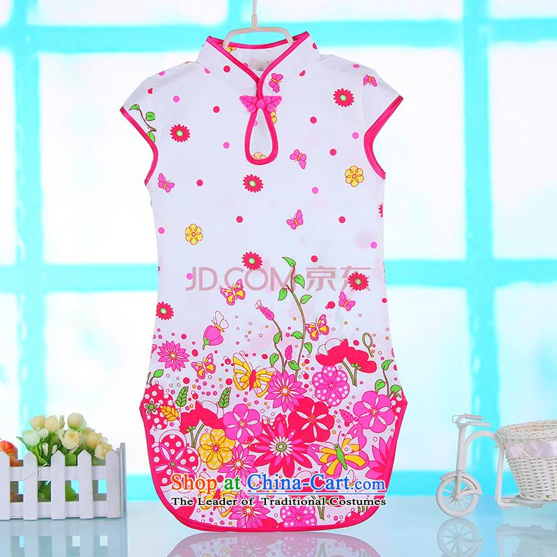 Bunnies Dordoi girls cotton linen ink butterfly cheongsam dress Clothes Summer 2015 Children baby national qipao porcelain Blue?120