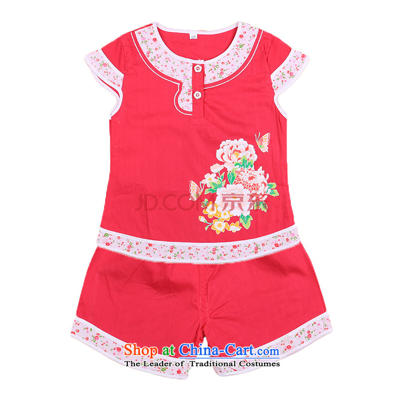 Small and stylish Dordoi Tang dynasty female babies children age summer sleeveless + shorts brocade coverlets Birthday holiday dress small children's wear infant Red?120