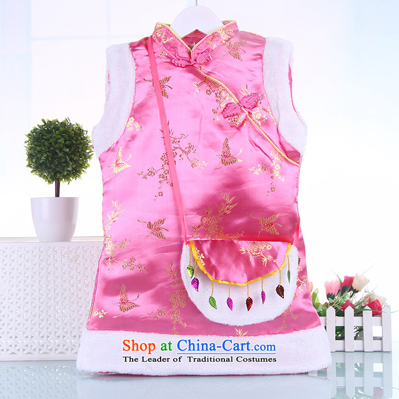 Winter children qipao girls Tang dynasty princess pure cotton dress kids CUHK girls of ethnic performances services Pink?130