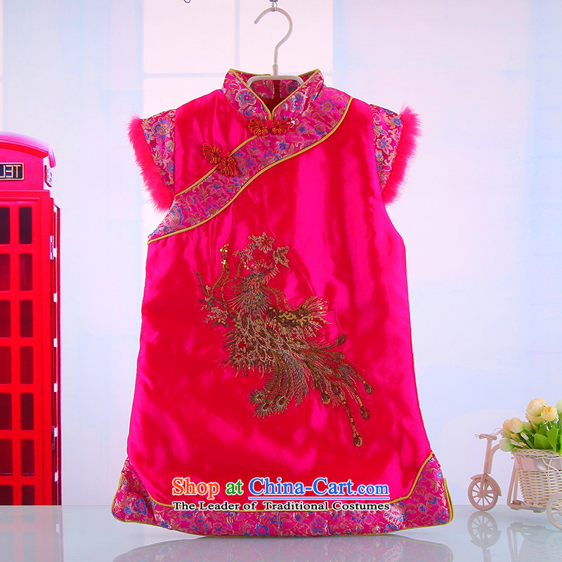 2014 new spring and fall girls baby girl cheongsam dress Tang Dynasty Show the girl child 5,159 qipao CUHK flag in the Red110