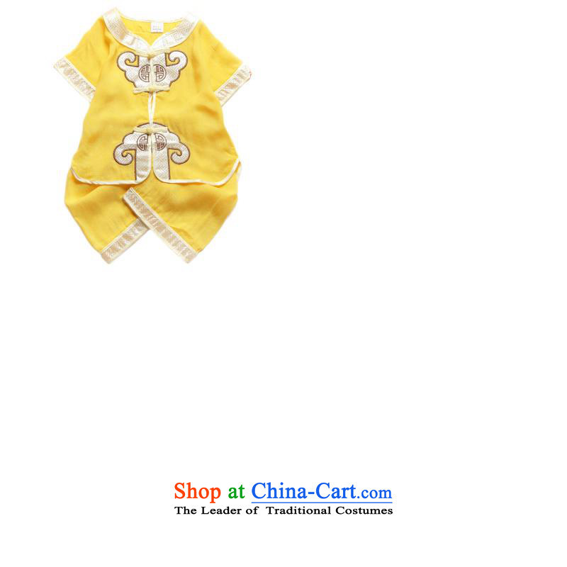 Bunnies Dordoi summer children and of children's wear Tang dynasty infant birthday summer short-sleeved shorts kit child care baby gifts of age pure cotton yellow 110