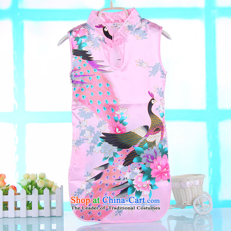 M-children's summer qipao pure cotton small girls Tang Gown cheongsam dress your baby girl children girls cheongsam dress 4691A Princess pink?140
