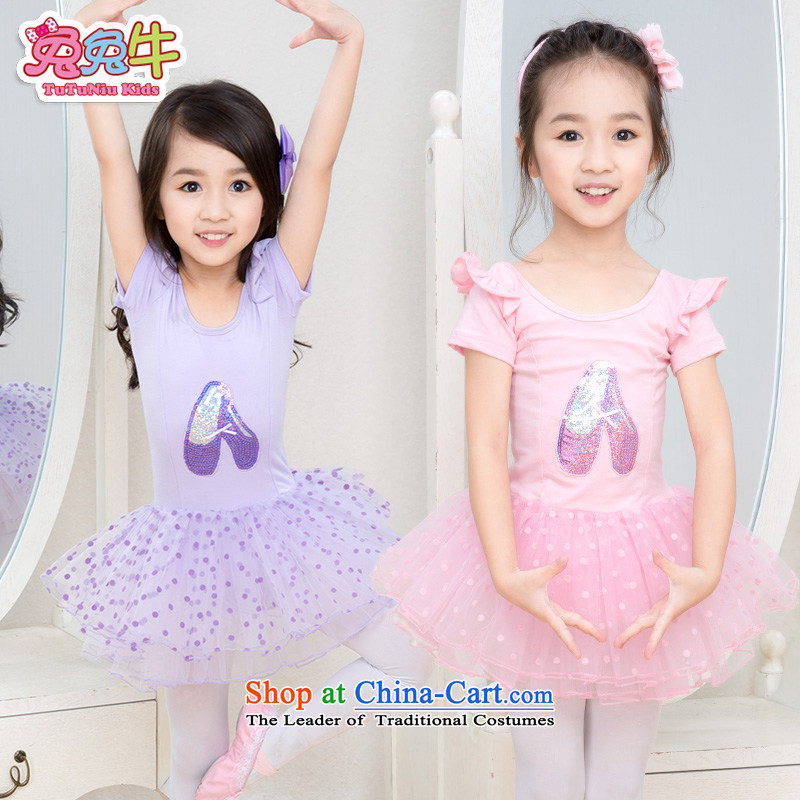 Rabbit and cattle children dance services girls ballet skirt long-sleeved dress Dance 2015 new children dance wearing long-sleeved pink exercise clothing 120-150 pre-sale 120