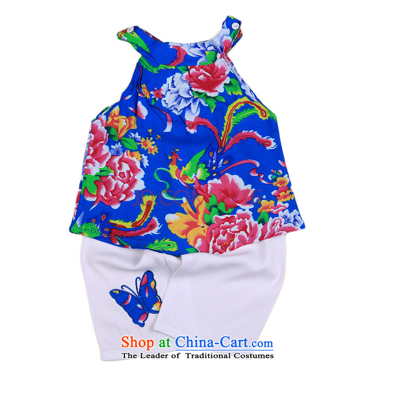 Bunnies Dordoi female children of ethnic Tang Dynasty Package Summer Children silk and cotton CAMI Kit Dance Performance Services Homewear Blue110