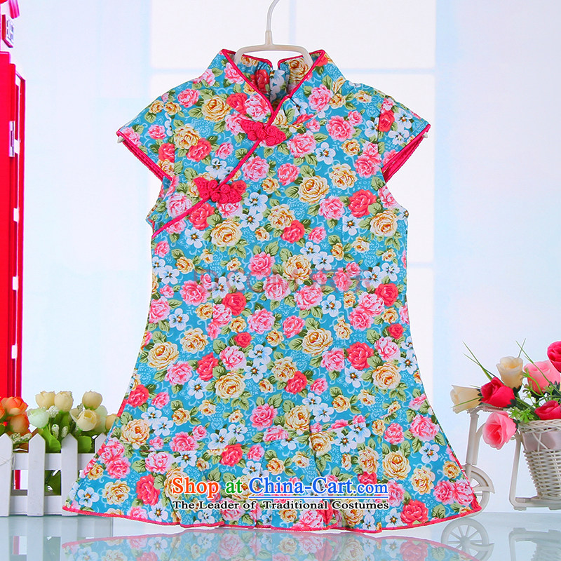 Bunnies Dordoi spring and summer, children Tang dynasty qipao girls short-sleeved dresses pure cotton saika China wind retro baby skirt their children cotton short-sleeved cheongsam dress Blue 120