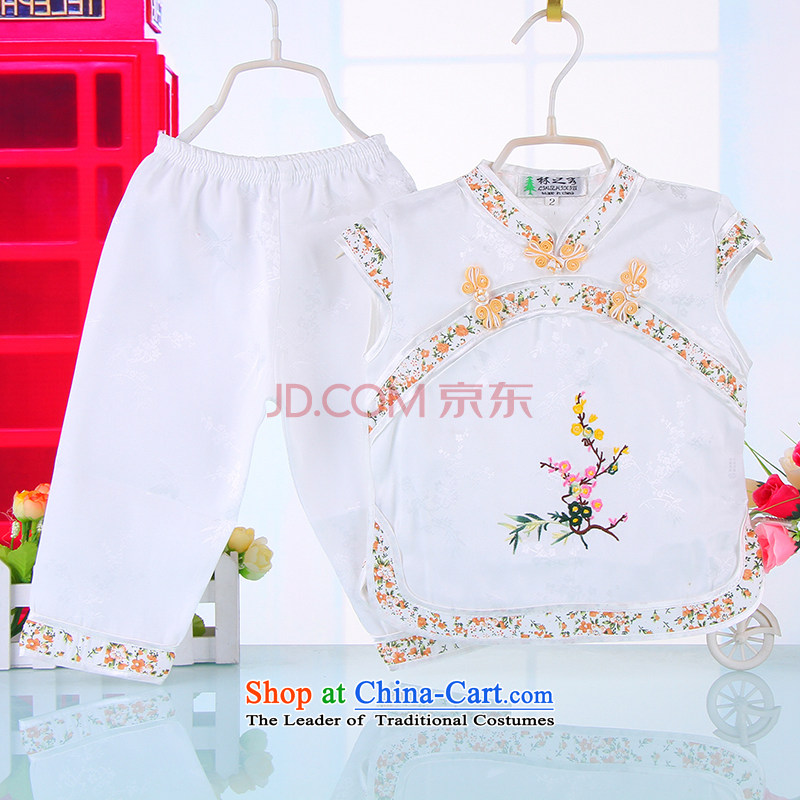 Bunnies Dordoi girls idyllic wind short-sleeved Tang Dynasty Package your baby girl children summer Chinese silk Tang Dynasty to dress qingsheng child trousers and white two kits 90