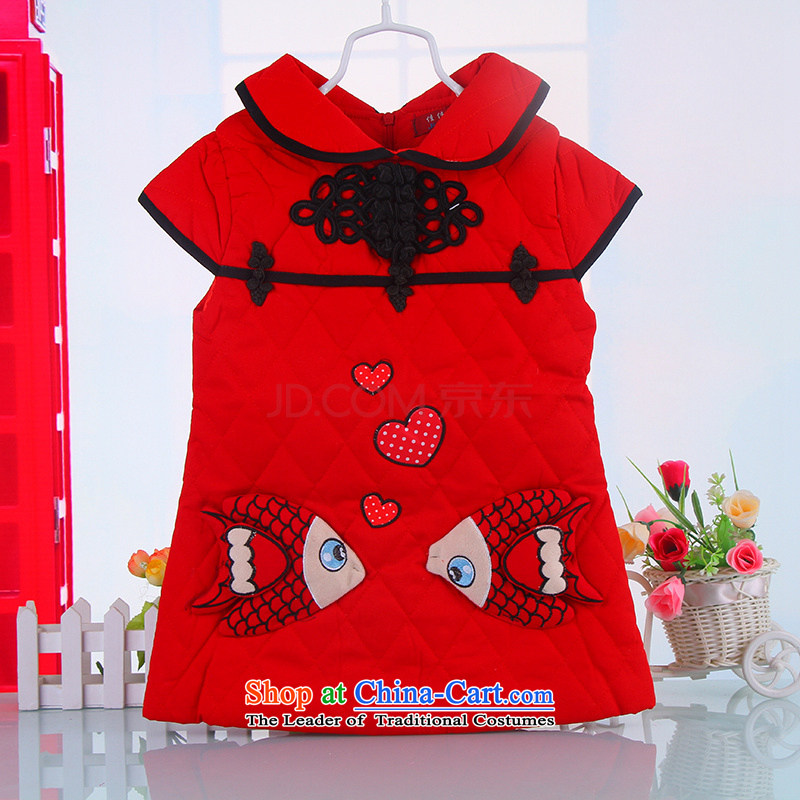Children with winter clothing girls dresses thick cotton baby red dolls folder princess skirt ethnic qipao 5355 Red 120