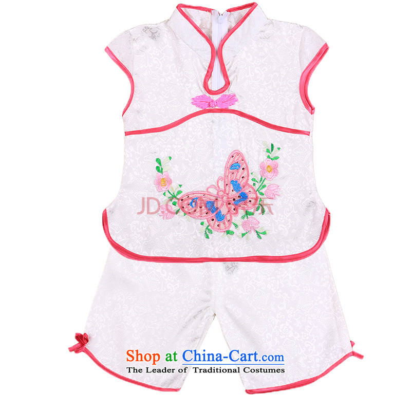 2015 Summer girls Tang dynasty children short-sleeve kit will baby summer clothing white聽90