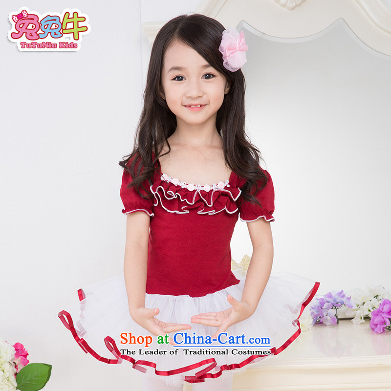 Rabbit and cattle children dance wearing summer female Korean girls ballet skirt exercise clothing long-sleeved Children Dance Services Red 130