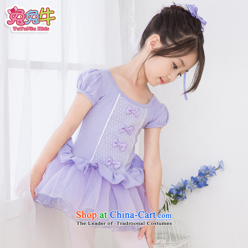 Rabbit and cattle children dance wearing summer female Korean girls ballet skirt exercise clothing long-sleeved children dance services purple  150