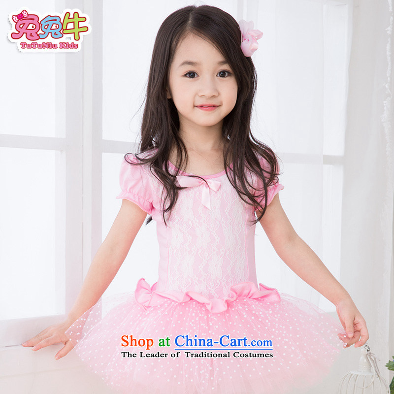 Rabbit and cattle children dance wearing summer female Korean girls ballet skirt exercise clothing long-sleeved children dance services Pink short-sleeved 120
