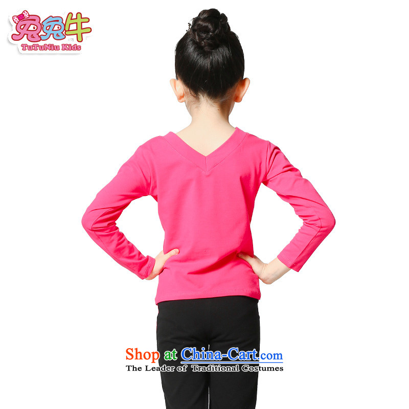 Rabbit and cattle children dance services fall girls long-sleeved Latin Services Latin Dance Dance clothing exercise clothing packaged in red 120