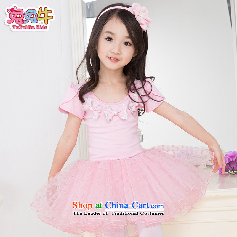 Rabbit and cattle children dance wearing summer female Korean girls ballet skirt exercise clothing long-sleeved children dance services Pink long-sleeved 130