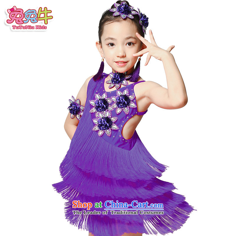 The United States and cattle new Latin Dancing girl children summer clothing Latin services will flow su skirt girls Latin dance skirt purple 160