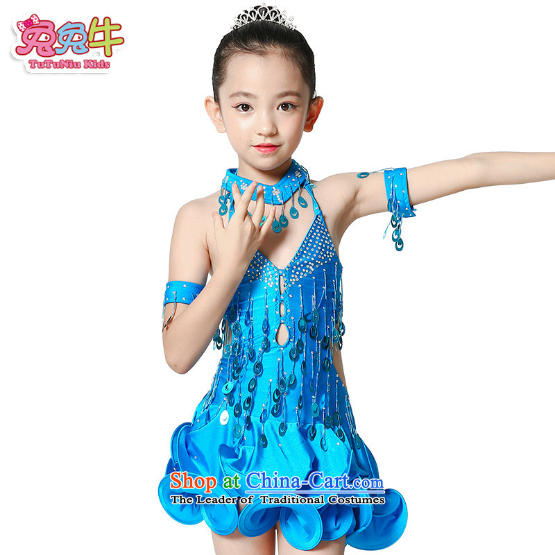 Rabbit and cattle Latin dance wearing the girl children serving Latin game services will children Latin dance skirt girls Blue 160