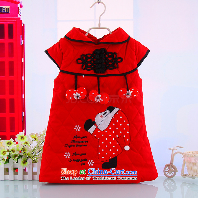 The girl child Christmas of Little Red Riding Hood warm winter qipao outdoor activities to celebrate the new year large red Tang Gown cheongsam Red 100