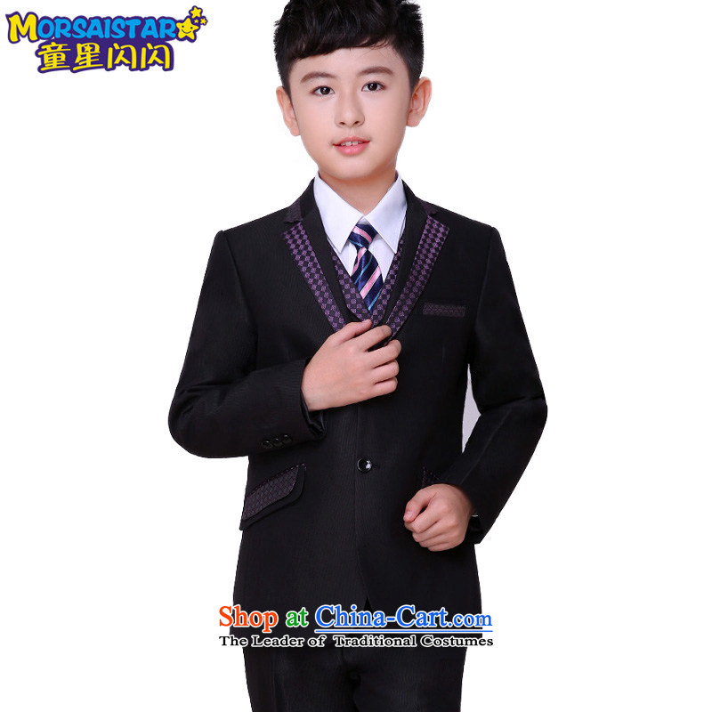 Child star shining boy children suits small children's wear suit Kit 2015 new dress suits for the autumn and winter flower girls with diamond lattices suits 7 piece set聽130