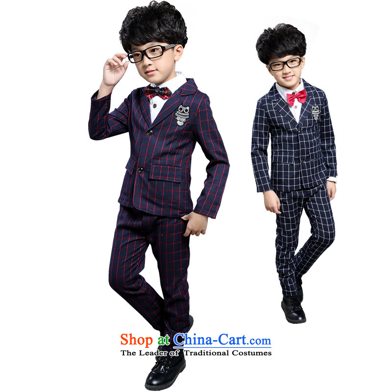 New Postshop Souvenirs childhood Nga male children's wear Korean latticed suits CUHK child Wild Child dress suits for the small festivals will show two kit boys clothes Qiu Hong latticed kit (two) 160 yards (recommendation 145-155CM) Height