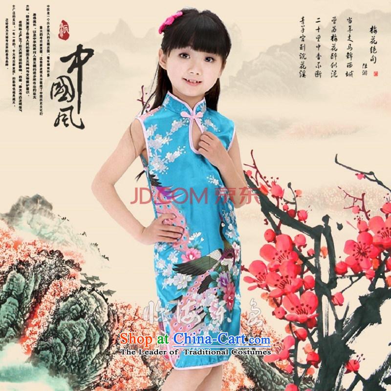 Children cheongsam dress princess girls summer cotton dress qipao Tang dynasty of children's wear kid guzheng will 4691A pink110