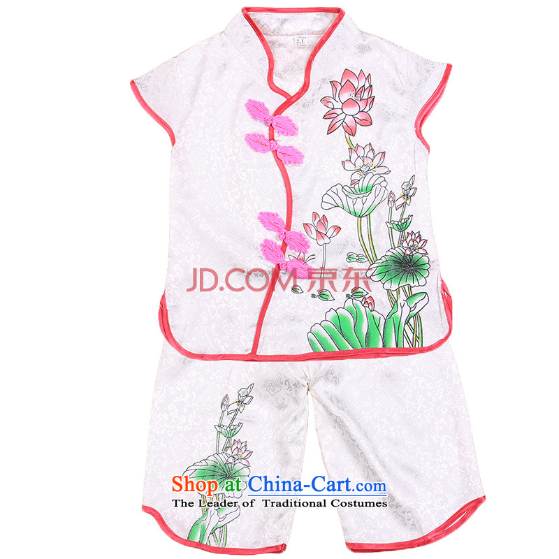 Tang Dynasty children girls vest shorts Summer Package your baby performances services services of ethnic dances of 4,656 court White 110