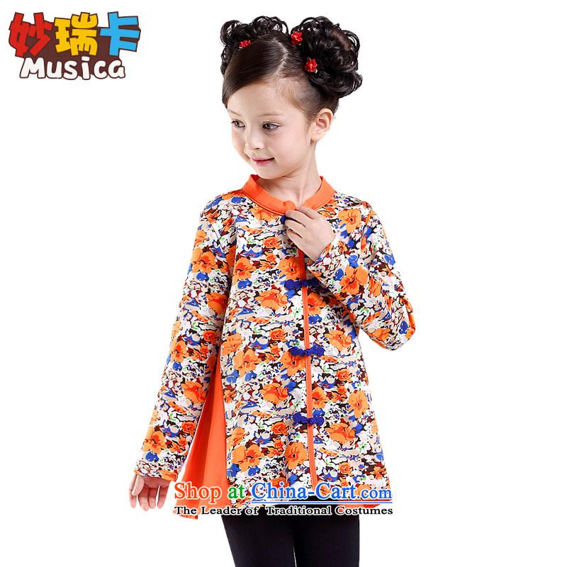 Mya@ children's wear girls stitching qipao shirt children saika ethnic costumes CUHK child guzheng will orange Begonia160