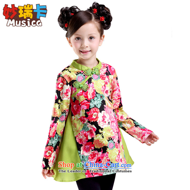 Mya@ 2015 new fall inside the girl child a long-sleeved shirt stitching children qipao girls of ethnic stamp shirt for Jadeite Jade ink Mudan 160