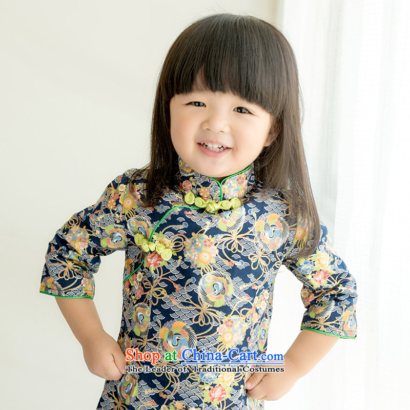Child Lok Wei spring and autumn) Children Tang dynasty qipao girls 7 cuff dresses Japan imports pure cotton Chinese baby blue skirt 120