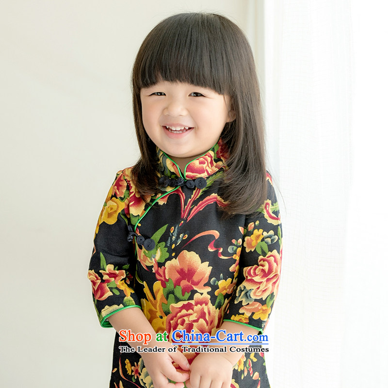 Child Lok Wei, children fall qipao Tang dynasty girls 7 cuff dresses black large jacquard yarn-dyed fabric cotton linen Chinese baby skirt black large jacquard yarn-dyed fabric聽120