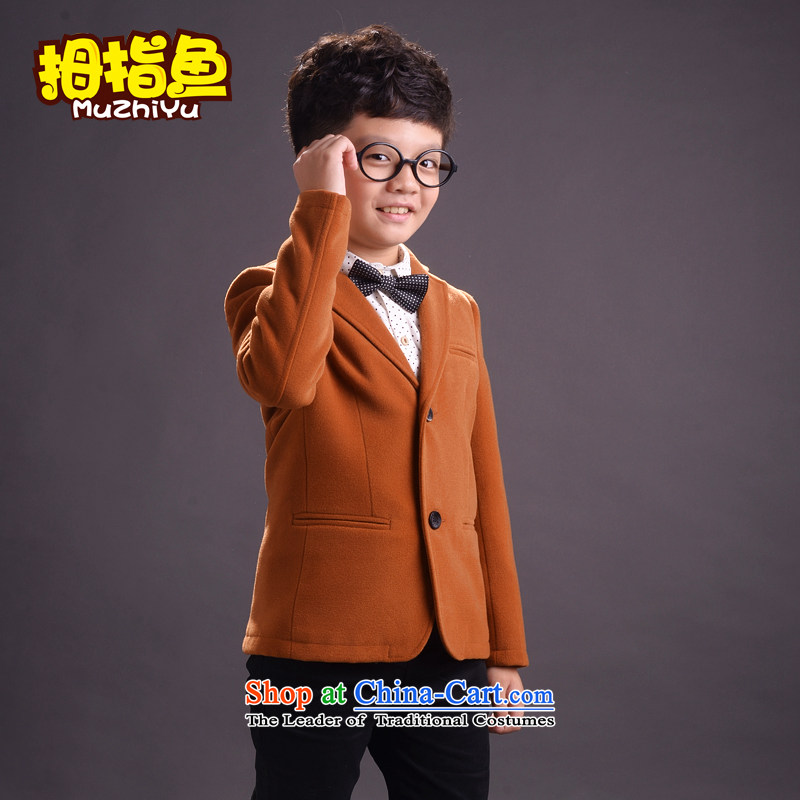 Thumb fish boy small children Korean version of CUHK suits small black suit small children suit coats Flower Girls dress yellow earth hangtags standing around 135 140 Recommendations