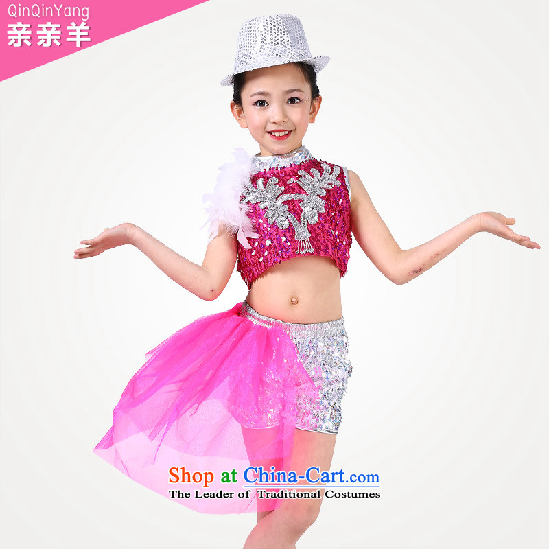 Kiss sheep children jazz dance costumes Girls Boys early childhood services on modern dance piece dress moderator of clothing Red140