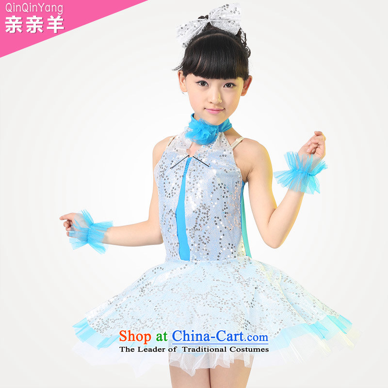 Children will kiss sheep girls serving on-chip performance refreshing child care services under the auspices of small children dance game services arena dress cloak skirt Blue聽150cm