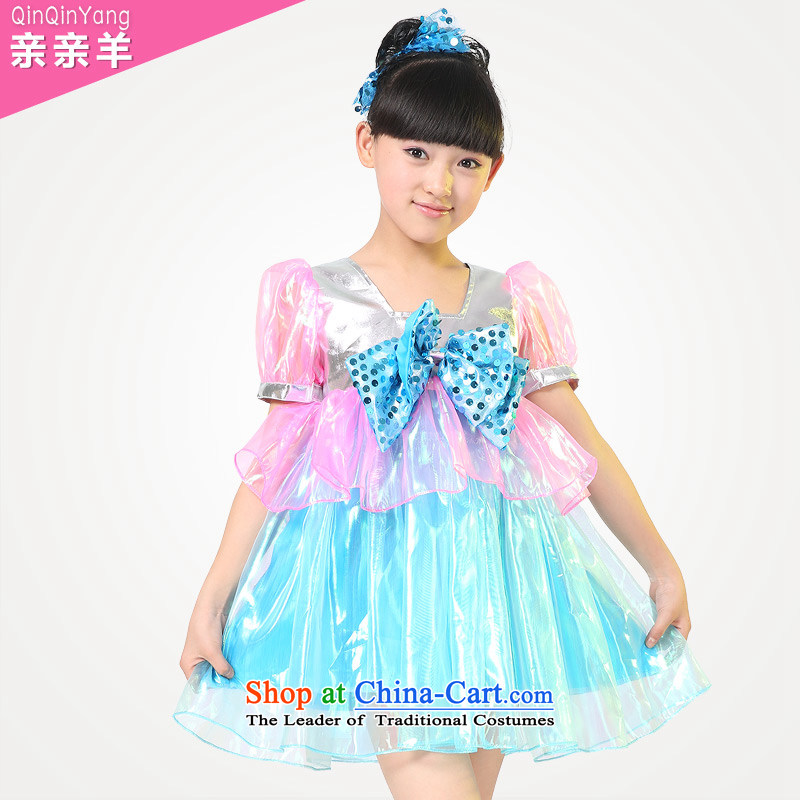 Kiss sheep children performing clothing girls costumes dress child care for children's clothing game dance performances to bow tie mantle skirt Blue 150cm
