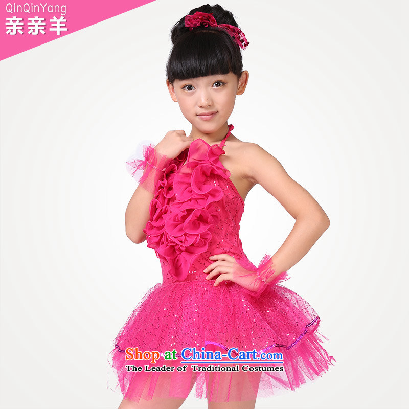 Children will kiss sheep girls modern dance show services on-chip early childhood services dress dance dance festival costumes match skirt dance competitions in red female skirt 150cm