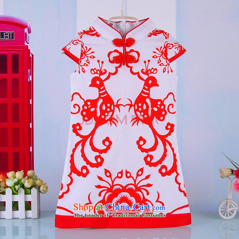 Children of Ethnic Chinese qipao Summer Children cotton linen girls Tang Gown skirt girls owara costumes Red?140